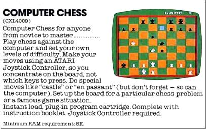 """Computer Chess"" advert taken from an ATARI catalog."
