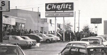 Chafitz's Space Age Fantasies. People lining up to enter their store.