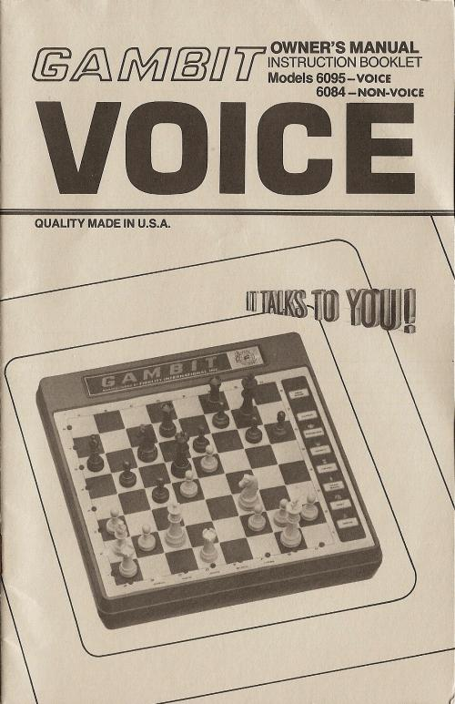 FIDELITY GAMBIT MODEL 6084 VERSION 1 Electronic Chess Computer -  picture taken from user manual