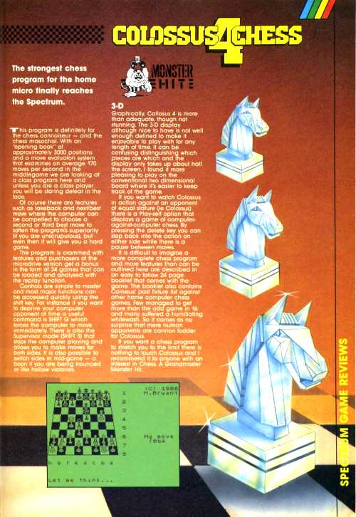 """Spectrum Colossus Chess 4"" taken from ZX Computing issue 10, 1986"