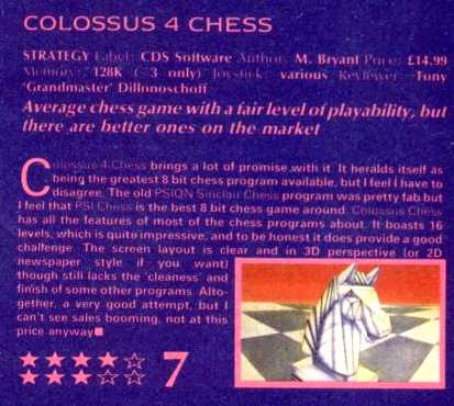 """Spectrum Colossus Chess 4"" taken from Sinclair User issue 4, 1988"