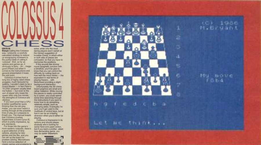 """Spectrum Colossus Chess 4"" taken from Your Sinclair issue 10, 1986"