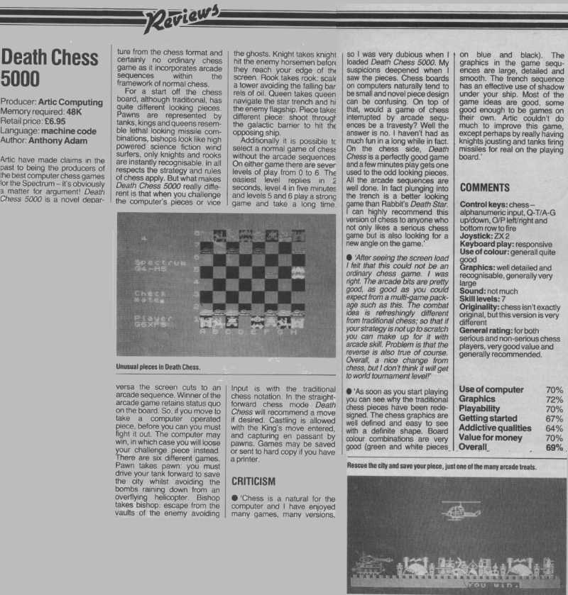 """Death Chess 5000"" review in Crash issue 7"