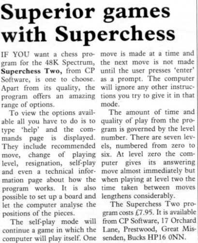 """Superchess II"" Sinclair User review July 1983"