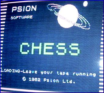 """ZX Spectrum Chess"" computer loading screen."